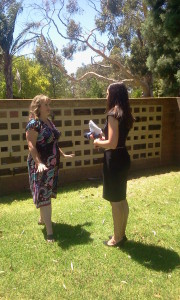 Kirrily Burton being interviewed by Channel Nine News