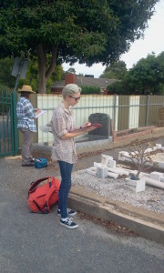 Flinders University Archaeology Students Recording Headstone Data